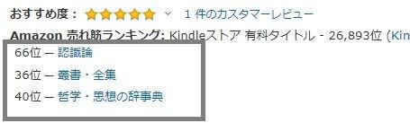 「哲学・思想の辞事典 の 売れ筋ランキング」で40位にランクインしていました☆