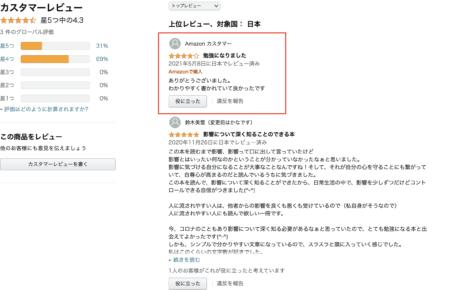 Amazonで販売中の電子書籍、「影響されやすい人から影響されにくい人になる方法」に、また高評価(星4つ、コメントあり)が!