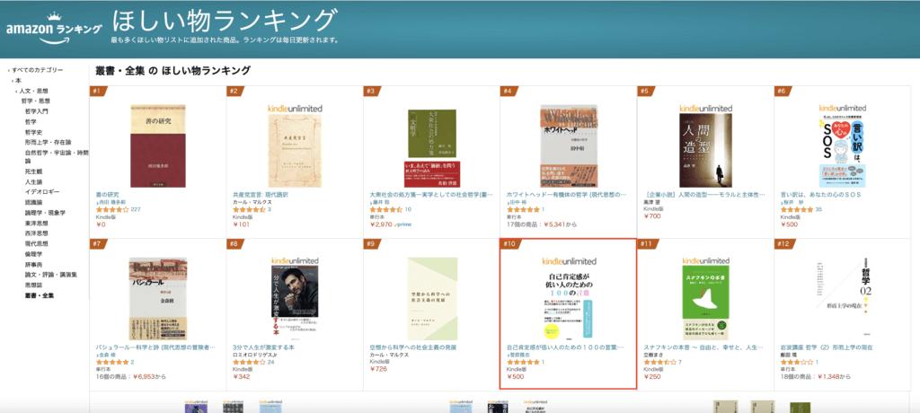 「自己肯定感が低い人のための100の言葉」が、Amazonの「叢書・全集 の ほしい物ランキング」で10位に!